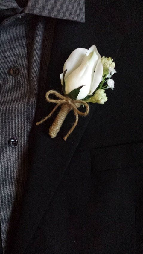 Hochzeit - Wedding Boutonniere (Boutineer) - White Roses With Mixed Flowers And Burlap Twine