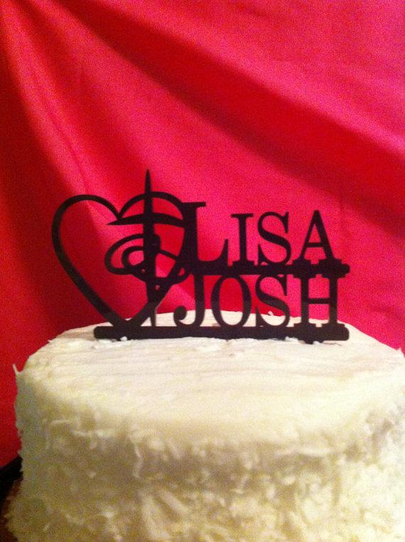 Mariage - Monogram, Personalized, Acrylic, Heart and Cross, Religious, Faith, Christian, First Name Wedding Cake Topper