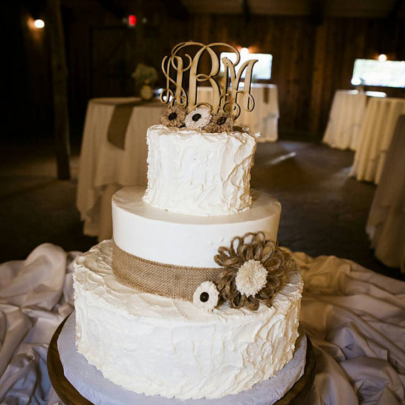 Wedding Cake Topper Rustic Decor Monogram Country Wooden Toppers