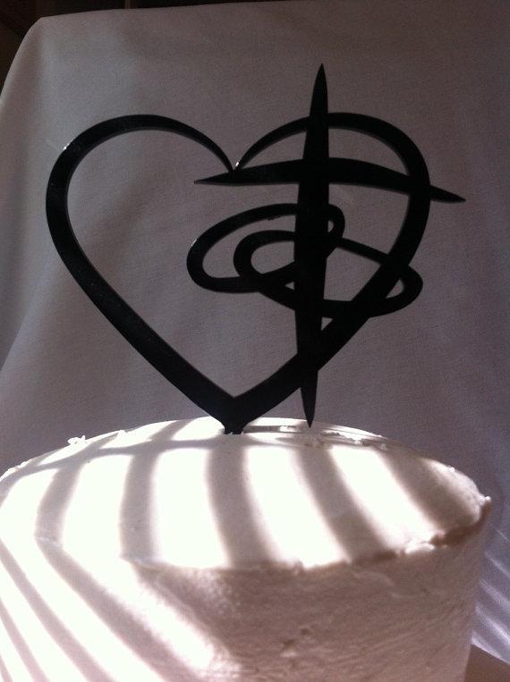 Mariage - Cross Heart Rings Contemporarty Christian Religous Faith Wedding Cake Topper