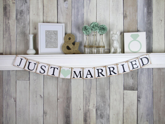 Mariage - Just Married Banner - Wedding Decoration - Wedding Car Sign - Mint