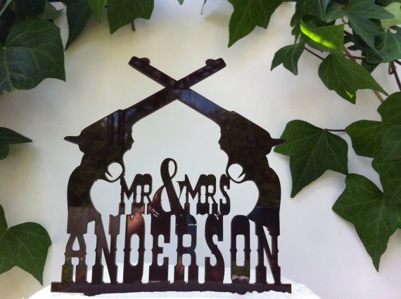 Mariage - Country, Rustic, Western Pistol Custom Personalized Wedding Cake Topper