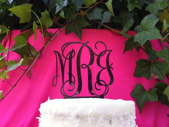 Wedding - Custom Monogram 3 Letter Acrylic Personalized Initial Monogram Wedding Cake Topper