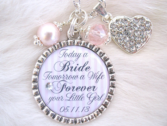 MOTHER Of The BRIDE Gift Mother Groom Today A Bride Quote Charm Necklace Beach Jewelry Mom Keychain Love Between