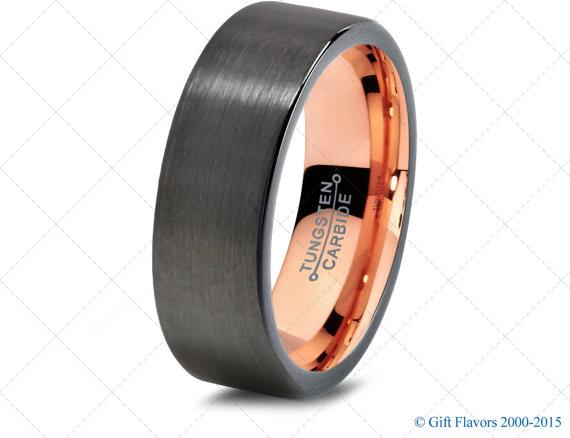 Black Gunmetal Tungsten Ring Rose Gold Wedding Band Ring Tungsten