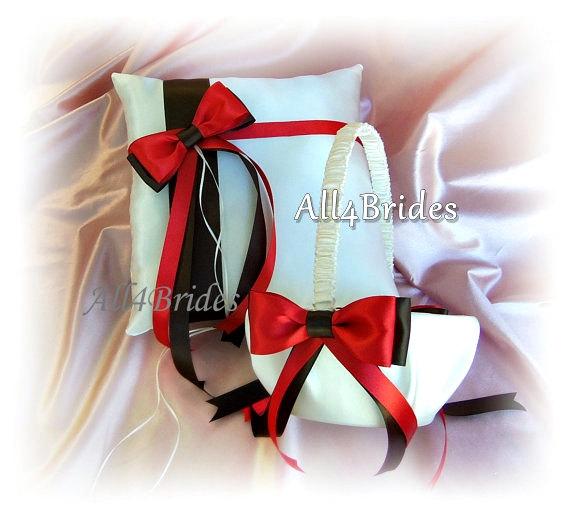 Mariage - Persimmon Chocolate Brown Weddings Basket Pillow - Ring Bearer Pillow - Flower Girl Basket - Weddings Ceremony Decor