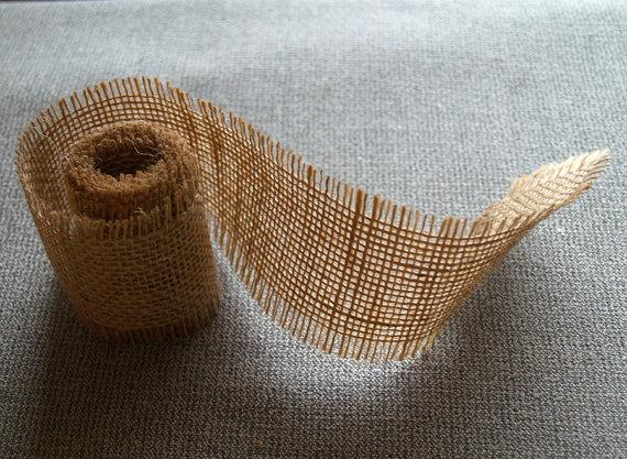 Mariage - Burlap Ribbon 2,5 inch. wide, Mason Jar Wrap, Vase Wrap, Wedding DIY Supplies, Crafting Supplies