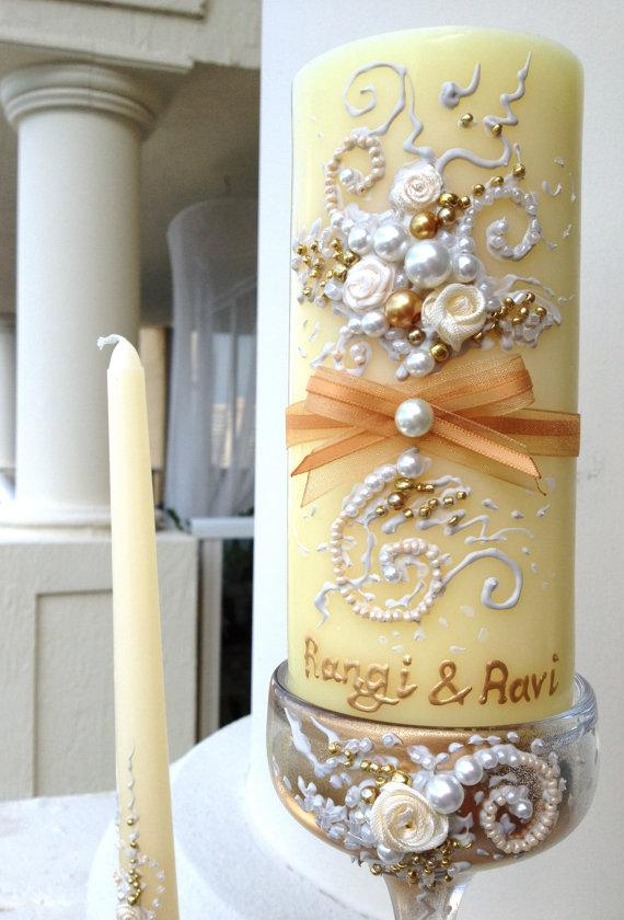 Mariage - Beautiful wedding unity candle set - 3 candles and 3 glass candleholders in ivory and gold, wedding reception, unity ceremony