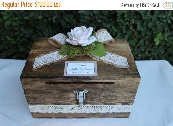 ON SALE Wedding Card Box Cardholder / Wooden Lockable ...