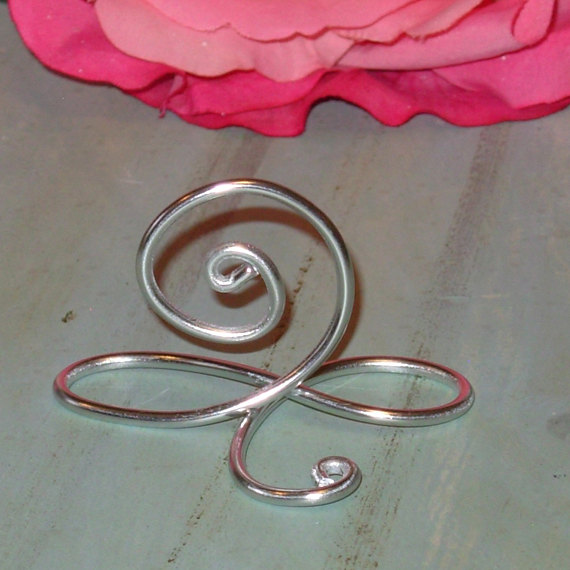 Mariage - 100 Silver Infinity Bow Wire Name Place Cards, or Small Table Number Holders, Silver Table Number Stands, See 99 cent each Bundle Special