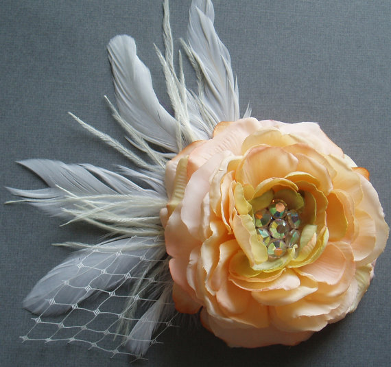 Silk Flower Hair Clip Wedding Hair Flower Headpiece Bridal