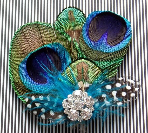 Mariage - Bridesmaid Peacock Fascinator Feather Hair Piece Clip WEDDING HAIRPIECE comb Rhinestone
