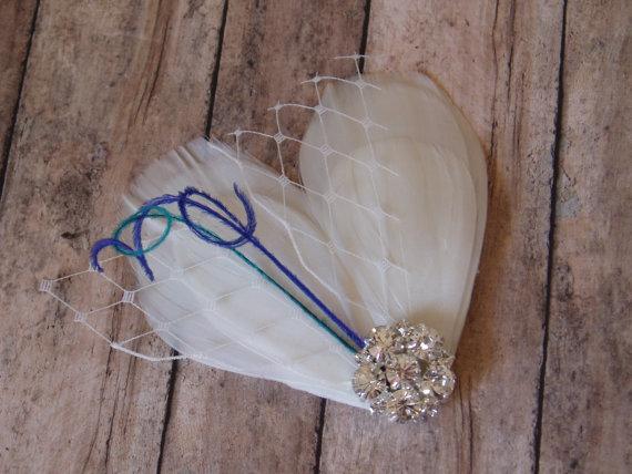 Boda - Wedding Hair Piece Hairpiece Bridal Headband Head Piece Hair Comb Feather Fascinator LIGHT IVORY BLUE