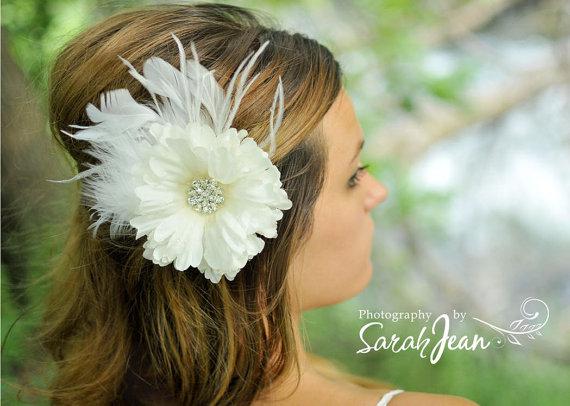 Wedding - Wedding flower hair piece Ivory Bridal Hair Clip, Bridesmaid Head Piece, Wedding Fascinator headpiece hairpiece, comb pin barrette