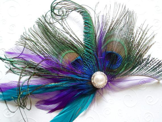 Свадьба - BRIDAL HAIR PIECE bridesmaid accessories Purple Peacock Wedding Hair Clip Feather Fascinator headpiece pearl turquoise accessory