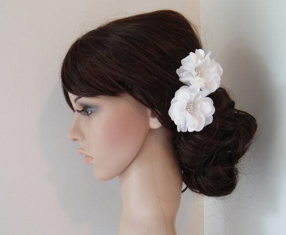 Mariage - Wedding Hair Flowers Bridal hair piece flower hair pins- 2 ALLIGATOR CLIPS - White