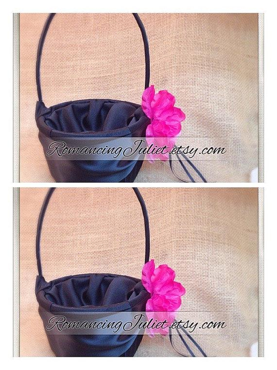 Mariage - Satin and Sash Flower Girl Basket with Handmade Rhinestone Rose..SET OF 2..You Choose The Colors..shown in black/black/hot pink fuschia