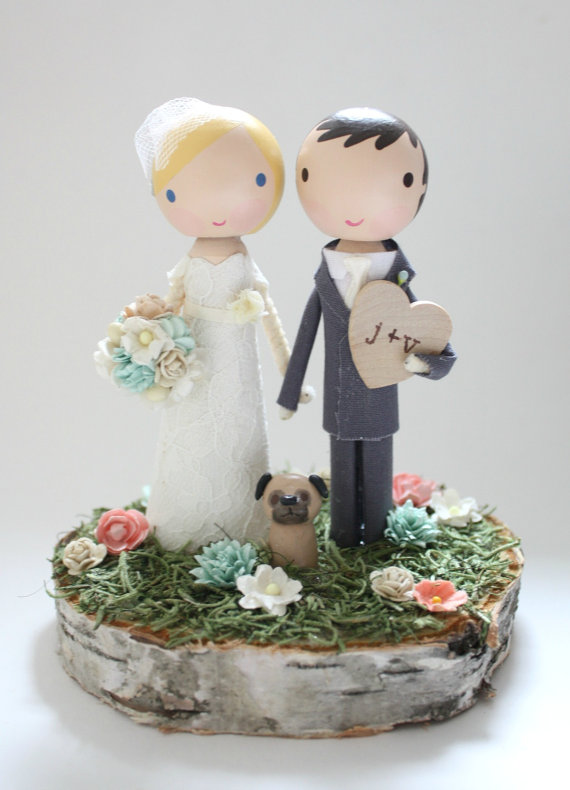 Wedding - custom wedding cake topper with wood slab base