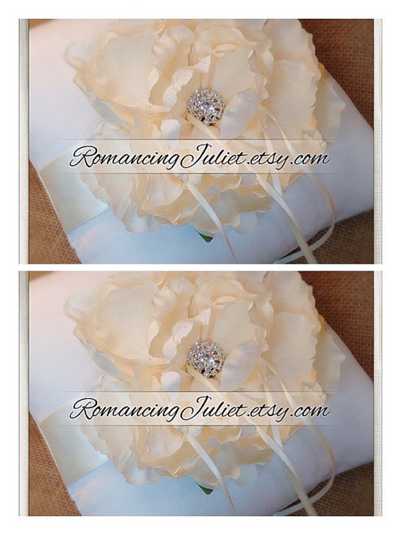 Mariage - Romantic Bloom Ring Bearer Pillow in Ivory with Crystal Rhinestone Accents..SET OF 2...shown in ivory/ivory