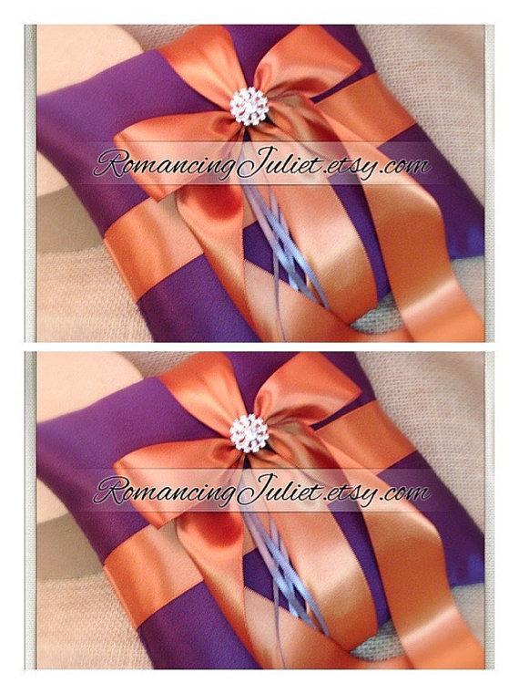 Свадьба - Romantic Satin Elite Ring Bearer Pillow...You Choose the Colors...SET OF 2...shown in eggplant purple/burnt orange