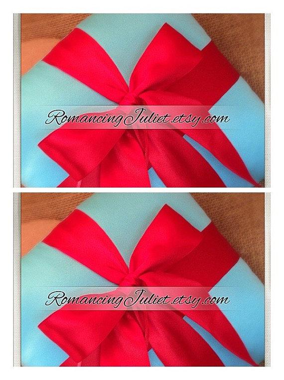Mariage - Romantic Satin Ring Bearer Pillow ...You Choose the Colors...SET OF 2..shown in turquoise/red