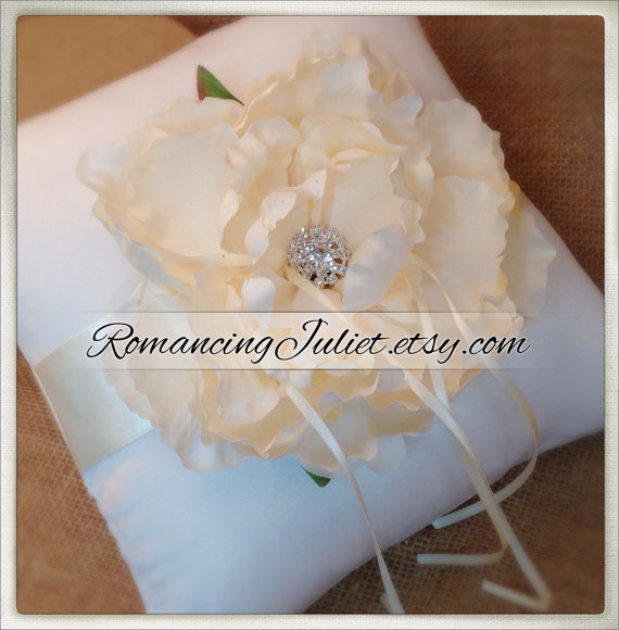 Свадьба - Romantic Bloom Ring Bearer Pillow in Ivory with Crystal Rhinestone Accents..shown in ivory/ivory