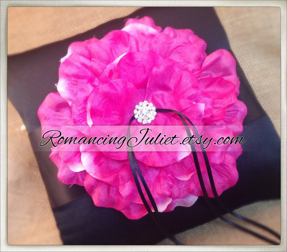 Mariage - 10 inch Satin and Sash Ring Pillow with Large Handmade Rose with Rhinestone..You Choose The Colors..shown in black/black/hot pink fuschia