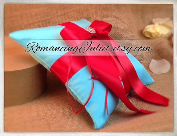 Свадьба - Romantic Satin Elite Ring Bearer Pillow...You Choose the Colors...Buy One Get One Half Off...shown in turquoise/red