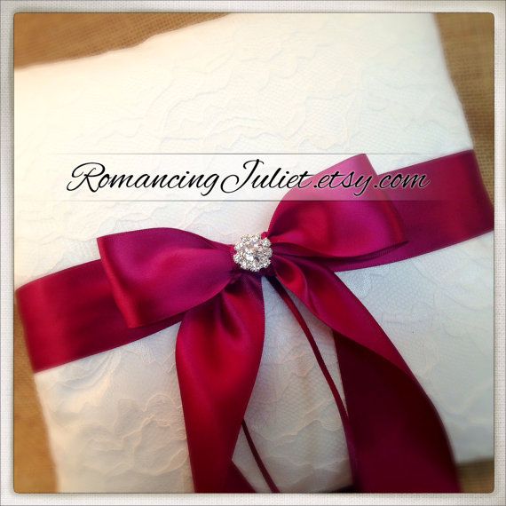 Свадьба - 10 Inch Satin Bows Ring Bearer Pillow with Delicate Lace Overlay...shown in white/white/burgundy