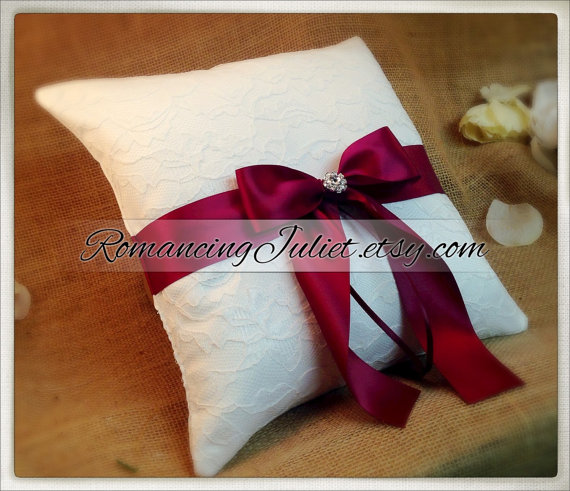 Mariage - 10 Inch Satin Bows Ring Bearer Pillow with Delicate Lace Overlay...shown in white/white/burgundy