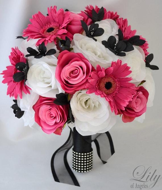 "Свадьба - 17 Piece Package Wedding Bridal Bouquet Silk Flower Decoration Bride FUCHSIA BLACK ""Lily of Angeles"" FUBK05"