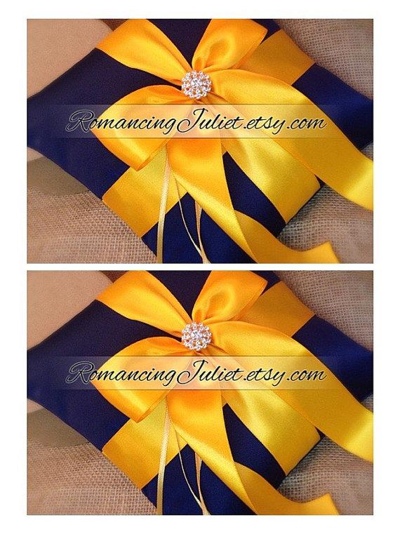 Свадьба - Romantic Satin Elite Ring Bearer Pillow...You Choose the Colors...SET OF 2...shown in navy blue/yellow gold