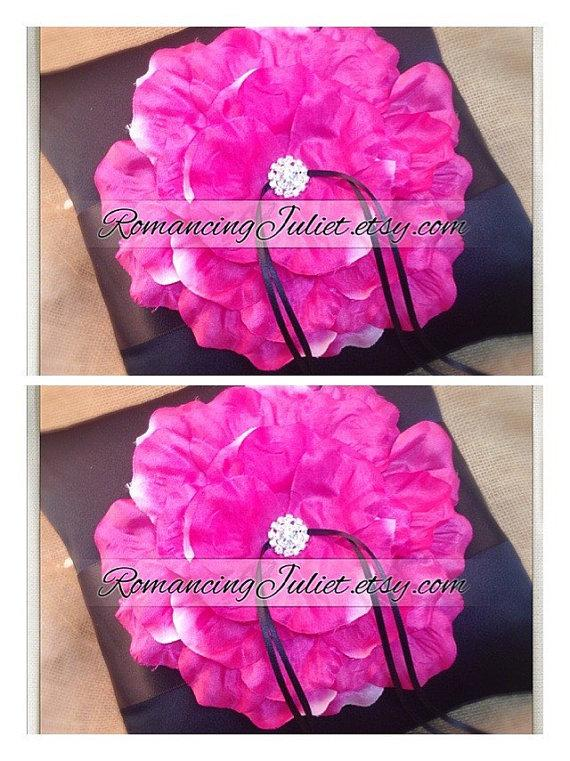 Wedding - 10 inch Satin and Sash Ring Pillow with Handmade Rose with Rhinestone..SET OF 2..Choose The Colors..shown in black/black/hot pink fuschia
