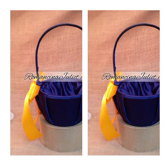 Hochzeit - Custom Colors Satin Flower Girl Basket..SET OF 2..You Choose The Colors..Shown in Navy blue/yellow gold