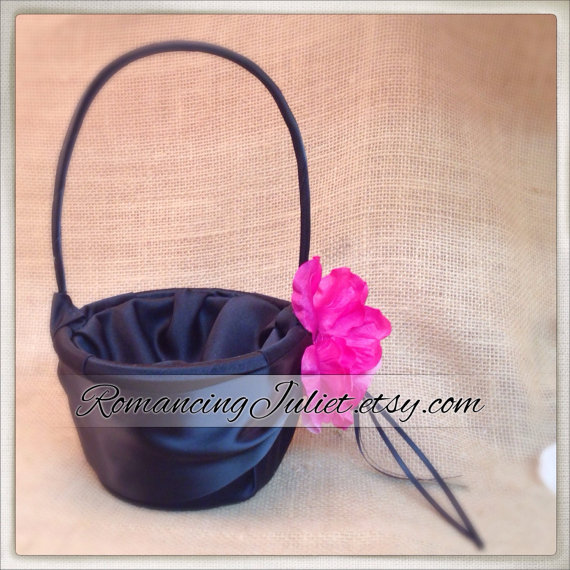 Satin and sash flower girl basket with large handmade rhinestone satin and sash flower girl basket with large handmade rhinestone roseyou choose the colorsown in blackblackhot pink fuschia mightylinksfo