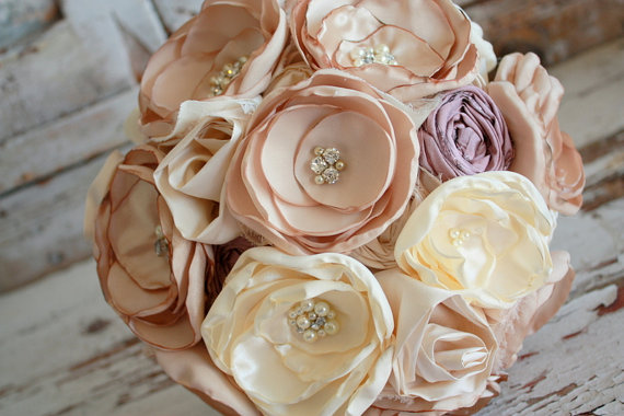 Champagne Wedding Bouquet Blush And Dusty Rose Bridal Fabric Flower With Ivory