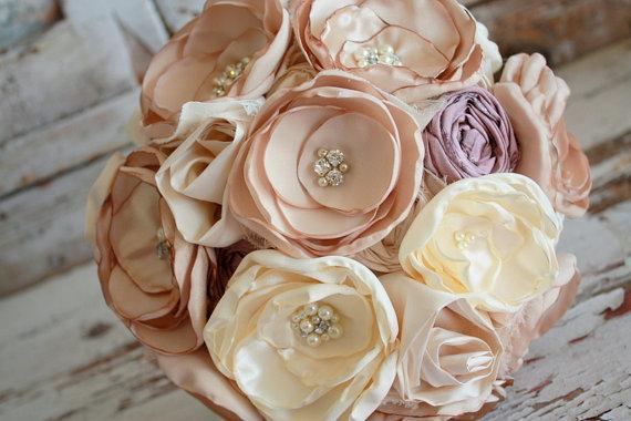 زفاف - Champagne Wedding bouquet, Blush and dusty rose bridal bouquet, fabric flower bouquet with blush, rose, champagne, ivory and rose