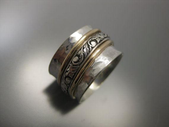 زفاف - triple mixed metal spinner ring, spinner ring, sterling silver, silver ring, worry ring, fidget ring