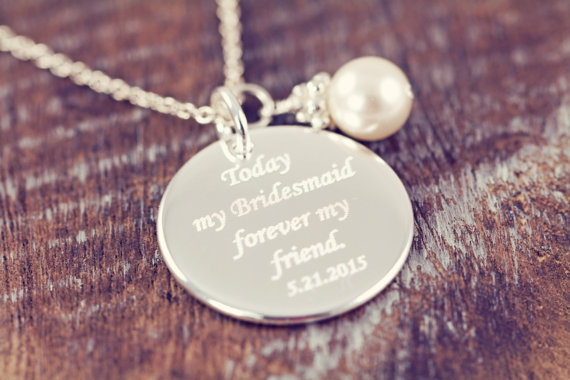 زفاف - 3 Bridesmaid Gift Personalized Necklaces, Engraved Wedding Jewelry, 925 Sterling Silver