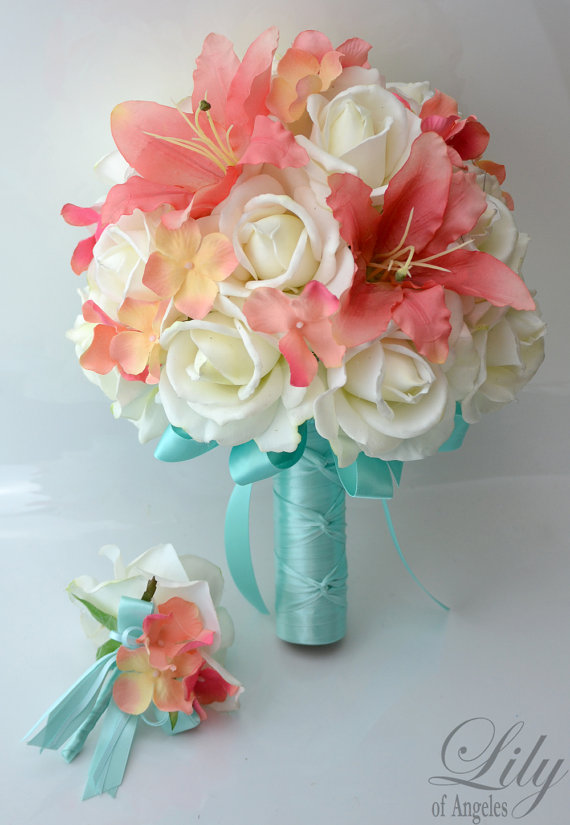 "Hochzeit - Bridal Bride Bouquet Groom Boutonniere Wedding Elegant Set Roses CORAL Robin's Egg BLUE ""Lily of Angeles"""