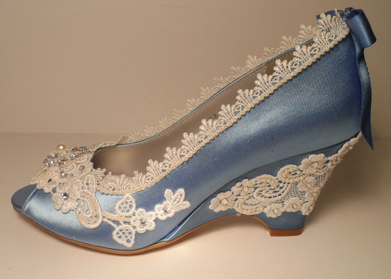 Düğün - Blue Wedding Wedges, Lace Wedge, Bridal Peeptoe Wedge, Blue Wedding , Custom, Bespoke Wedding Shoes,Blue Bridal Shoes, Grden Wedding Shoes