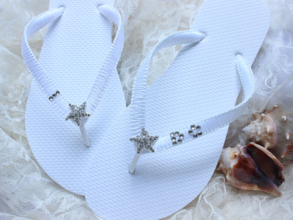 I Do Bridal Flip Flop White Flops Wedding Sandals Beach Shoes