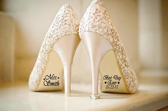 Hochzeit - Best Day Ever Custom Wedding Shoe Decal with Date and Hearts, Wedding Decorations, Shoe Decal