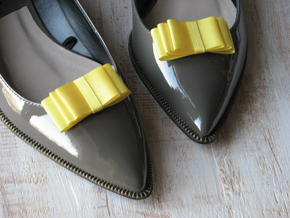 Yellow Shoe Clips Yellow Shoe Bows Yellow Wedding Accessory Yellow  Bridesmaids Shoes Wedding Shoes Yellow Bridal Yellow Bridal Accessories