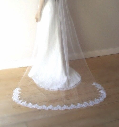 Mariage - Ivory cathedral veil,cathedral lace veil