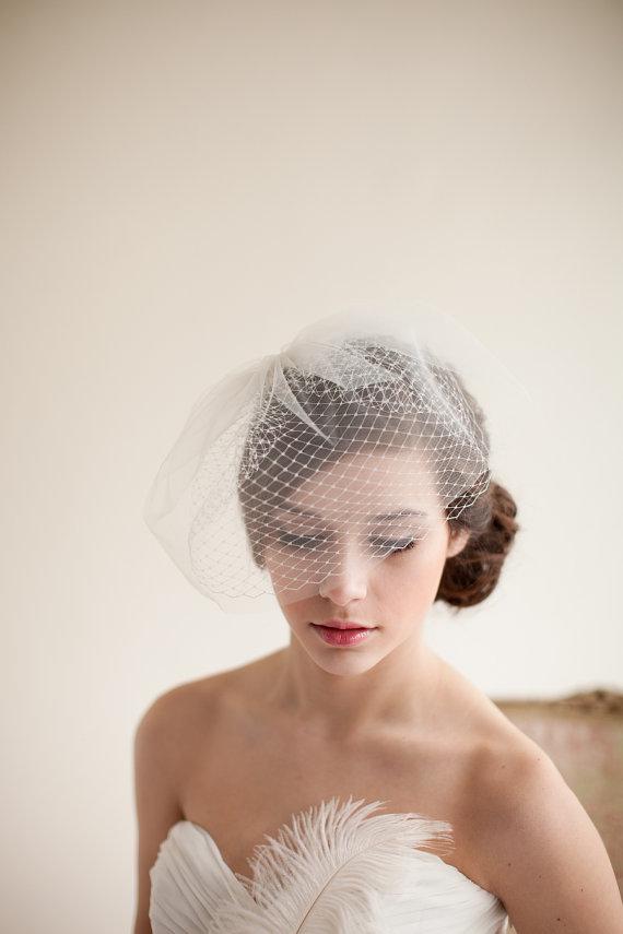 Mariage - Double Layer Birdcage Veil, Blusher Veil, Tulle Veil, Wedding Veil, Mini Veil - Jane Style 7413