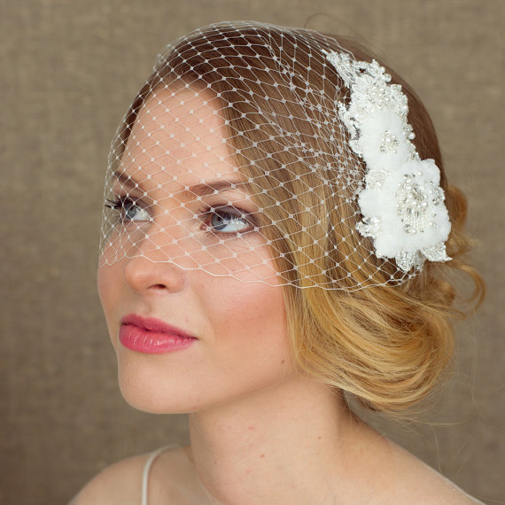 Wedding Birdcage Veil With Lace 9 Inch Bridal Bandeau Veil Bridal Birdcage Veil Wedding Veil