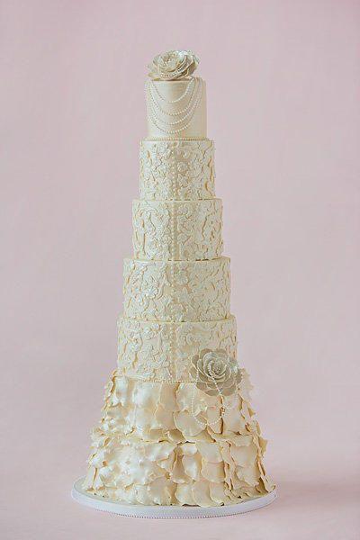 Hochzeit - Elegant Modern Vintage Wedding Cake