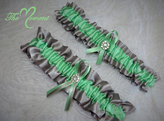 Свадьба - Mint Green and Silver Garter Set, Wedding Garter, Bridal Garter, Keepsake Garter, Toss Away Garter, Prom Garter, Costume Garter, Garter