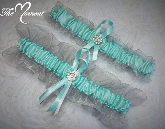 Свадьба - Silver and Aqua Garter Set, Keepsake and Toss-away Garter Set, Organza, Ribbon Garter, Prom Garter, Bridal Garter, Wedding Garter